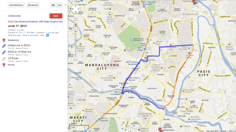 """Blue line shows my """"walk route"""" on the night of June 17, 2013. Red line shows an alternate """"C5 route"""". Red marker on top is Eastwood. Red marker on bottom is Brgy. Comembo, Makati City, where I live."""