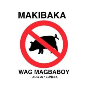 """Makibaka! 'Wag Magbaboy!"" The rallying cry of Filipinos against pork barrel. Image from Facebook."